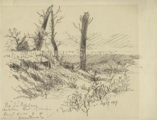"The ""Six"" Poplars Between the British and German Front Lines East of Hebuterne,  September 27 1917 Rose, Geoffrey K (MC)  Three bomb damaged stumps of poplar trees stand in a scarred rural landscape."